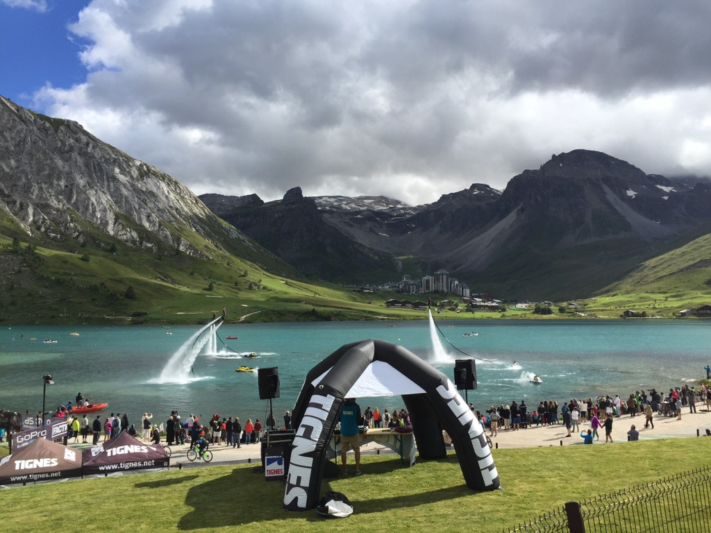 Flyboarding on the lake this week in Tignes