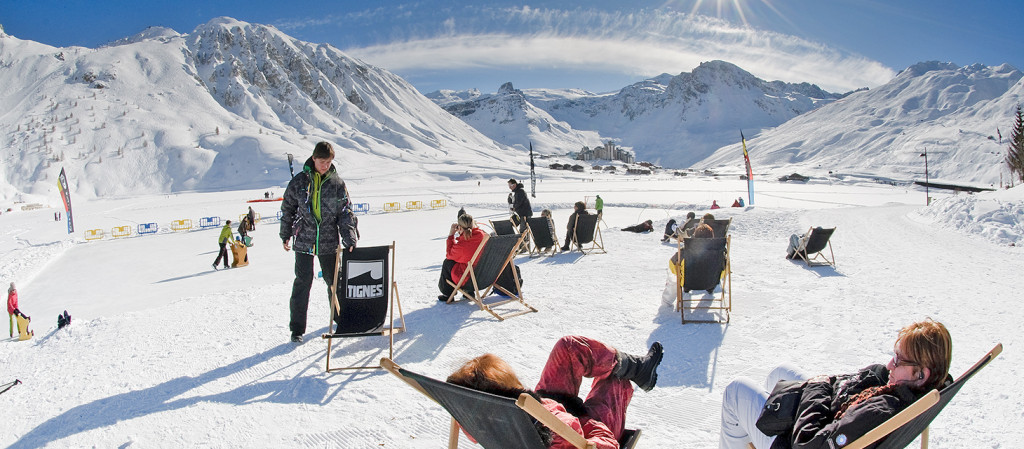 Sunbathing on the frozen lake, image courtesy of Tignes.net