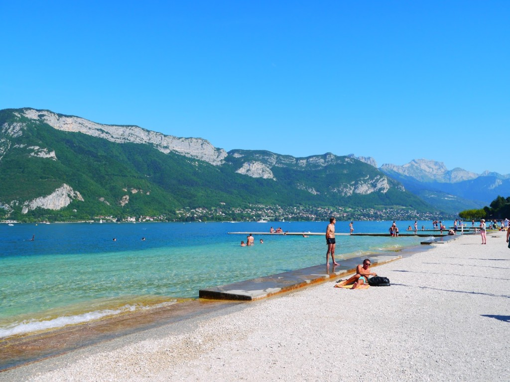 The crystal clear waters of Lake Annecy